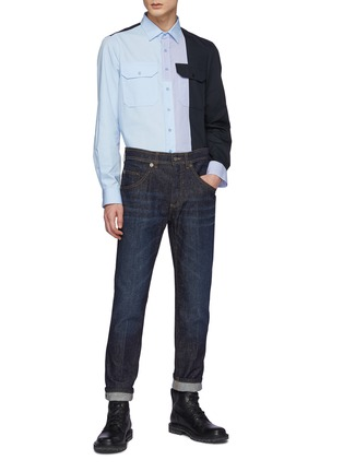 Figure View - Click To Enlarge - NEIL BARRETT - Japanese Speckled Denim Washed Skinny Jeans
