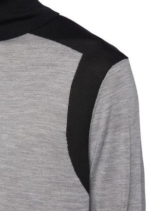 - NEIL BARRETT - Asymmetric Colour Blocking Wool Knit Turtleneck Sweater