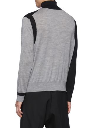 Back View - Click To Enlarge - NEIL BARRETT - Asymmetric Colour Blocking Wool Knit Turtleneck Sweater