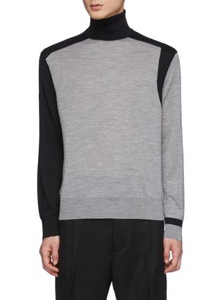 Main View - Click To Enlarge - NEIL BARRETT - Asymmetric Colour Blocking Wool Knit Turtleneck Sweater