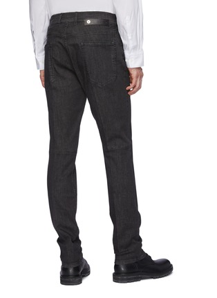 Back View - Click To Enlarge - NEIL BARRETT - Washed Charcoal Stretch Denim Jeans