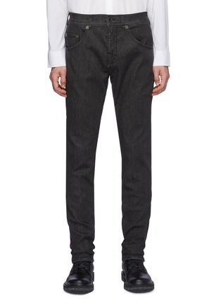 Main View - Click To Enlarge - NEIL BARRETT - Washed Charcoal Stretch Denim Jeans