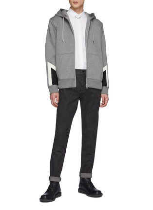 Figure View - Click To Enlarge - NEIL BARRETT - Washed Charcoal Stretch Denim Jeans