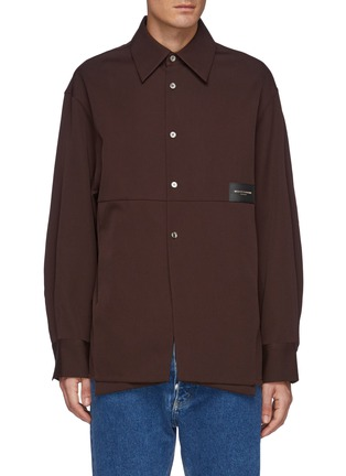 Main View - Click To Enlarge - WOOYOUNGMI - Leather Logo Patch Oversized Shirt