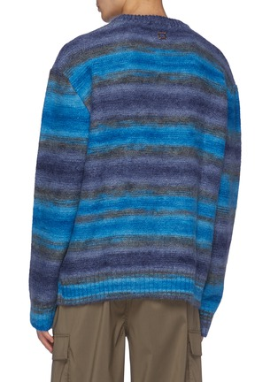 Back View - Click To Enlarge - WOOYOUNGMI - Faded Striped Mohair Blend Knit Crewneck Sweater