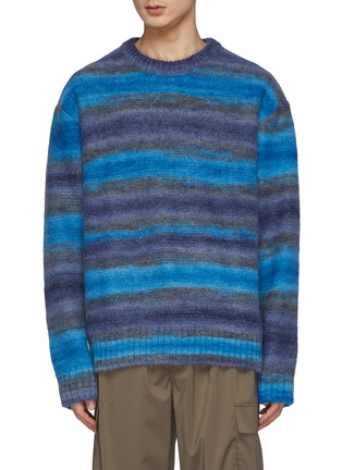Main View - Click To Enlarge - WOOYOUNGMI - Faded Striped Mohair Blend Knit Crewneck Sweater