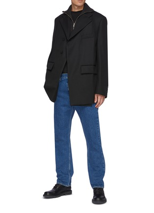 Figure View - Click To Enlarge - WOOYOUNGMI - One Button Front Asymmetric Blazer