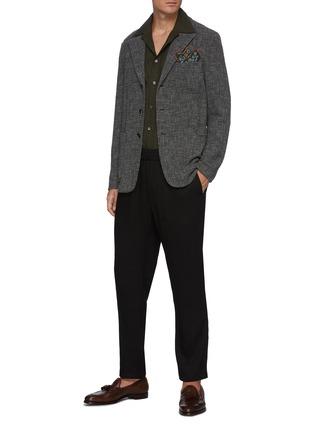 Figure View - Click To Enlarge - BARENA - 'Cosma' Elastic Waist Drop Crouch Straight Leg Pants