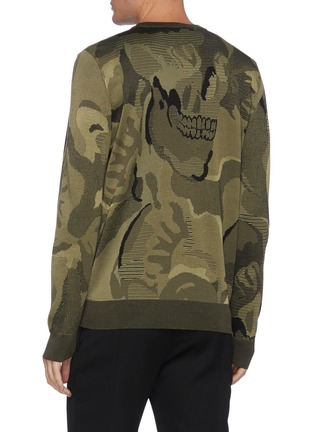 Back View - Click To Enlarge - ALEXANDER MCQUEEN - Camouflage Skull Jacquard Wool Blend Sweater