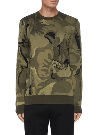 Main View - Click To Enlarge - ALEXANDER MCQUEEN - Camouflage Skull Jacquard Wool Blend Sweater