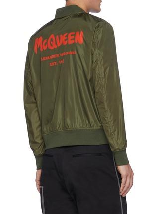 Back View - Click To Enlarge - ALEXANDER MCQUEEN - Graffiti Logo Print Nylon Bomber Jacket
