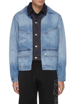 Main View - Click To Enlarge - ALEXANDER MCQUEEN - Double Collar Layered Denim Jacket