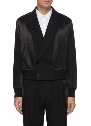 Main View - Click To Enlarge - ALEXANDER MCQUEEN - Notch Lapel Front Wool Bomber Jacket