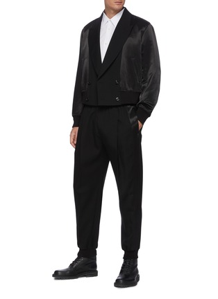 Figure View - Click To Enlarge - ALEXANDER MCQUEEN - Notch Lapel Front Wool Bomber Jacket