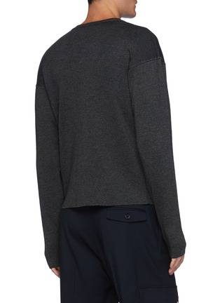 Back View - Click To Enlarge - LEMAIRE - Crewneck Merino Wool Blend Ribbed Knit Drop Shoulder Sweater