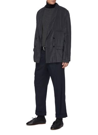 Figure View - Click To Enlarge - LEMAIRE - Crewneck Merino Wool Blend Ribbed Knit Drop Shoulder Sweater