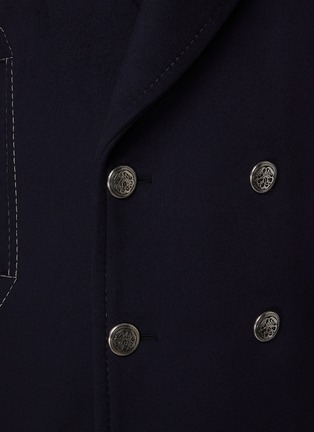 - ALEXANDER MCQUEEN - Leather Sleeved Double Breasted Oversized Peacoat