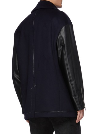 Back View - Click To Enlarge - ALEXANDER MCQUEEN - Leather Sleeved Double Breasted Oversized Peacoat