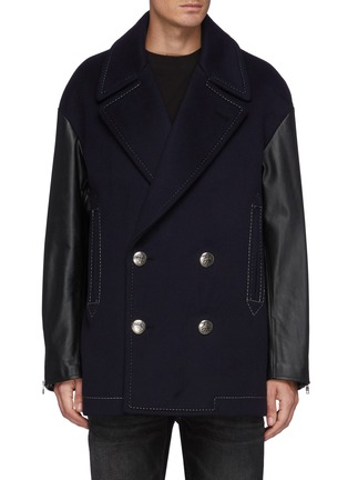 Main View - Click To Enlarge - ALEXANDER MCQUEEN - Leather Sleeved Double Breasted Oversized Peacoat