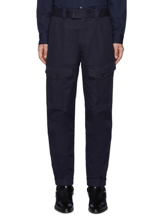 Main View - Click To Enlarge - ALEXANDER MCQUEEN - Bellows Pocket Rolled Up Gabardine Tappered Pants