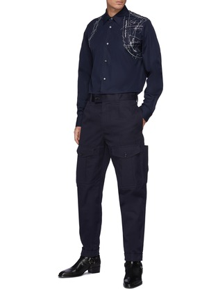 Figure View - Click To Enlarge - ALEXANDER MCQUEEN - Bellows Pocket Rolled Up Gabardine Tappered Pants