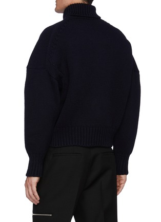 Back View - Click To Enlarge - ALEXANDER MCQUEEN - Turtleneck Dove Intarsia Oversized Pullover