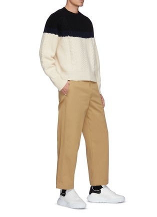 Figure View - Click To Enlarge - ALEXANDER MCQUEEN - Colourblock Cable Knit Wool Blend Sweater