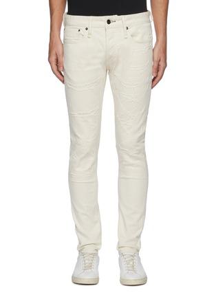 Main View - Click To Enlarge - DENHAM - 'Bolt' Distressed Detail Light Wash Denim Skinny Jeans