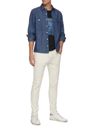Figure View - Click To Enlarge - DENHAM - 'Bolt' Distressed Detail Light Wash Denim Skinny Jeans