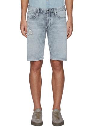 Main View - Click To Enlarge - DENHAM - Razor' Repair Detail Knee Length Denim Shorts
