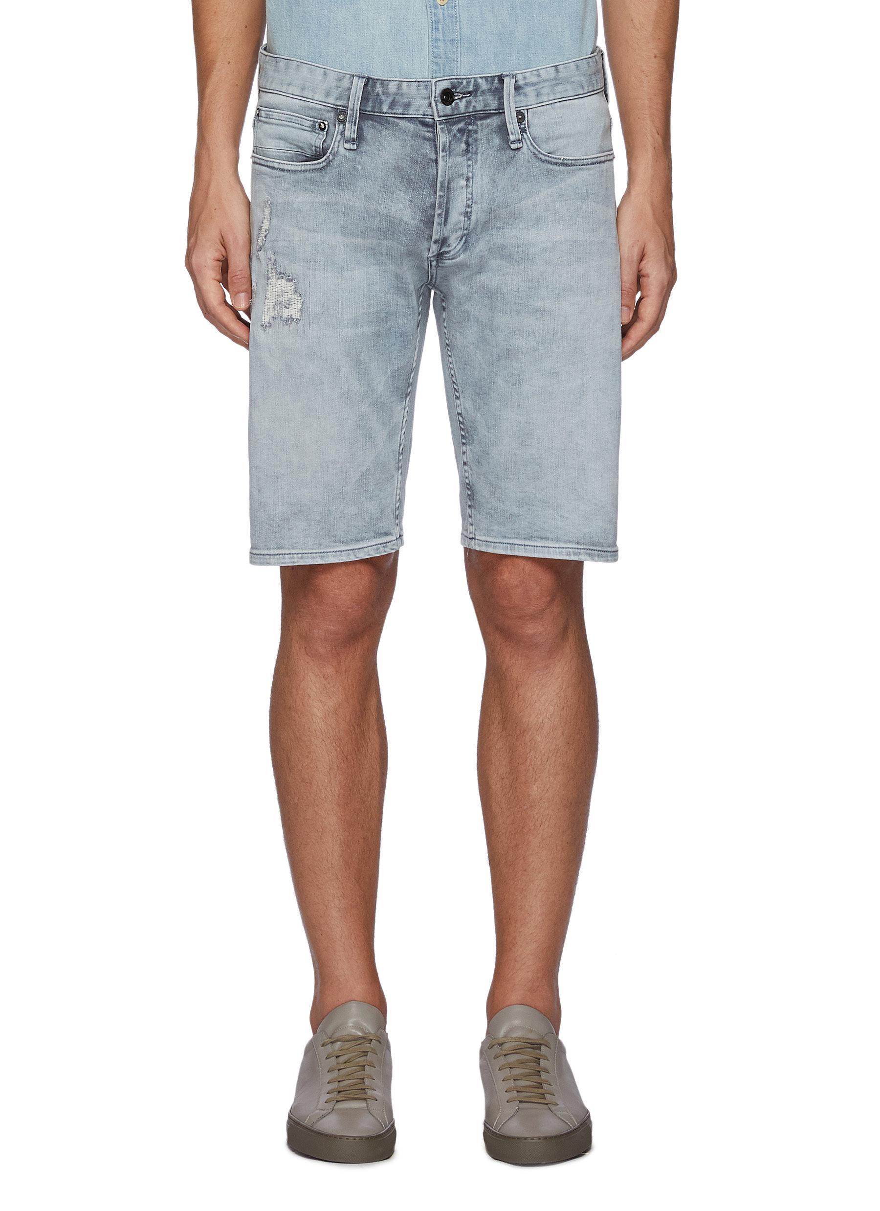 Razor' Repair Detail Knee Length Denim Shorts