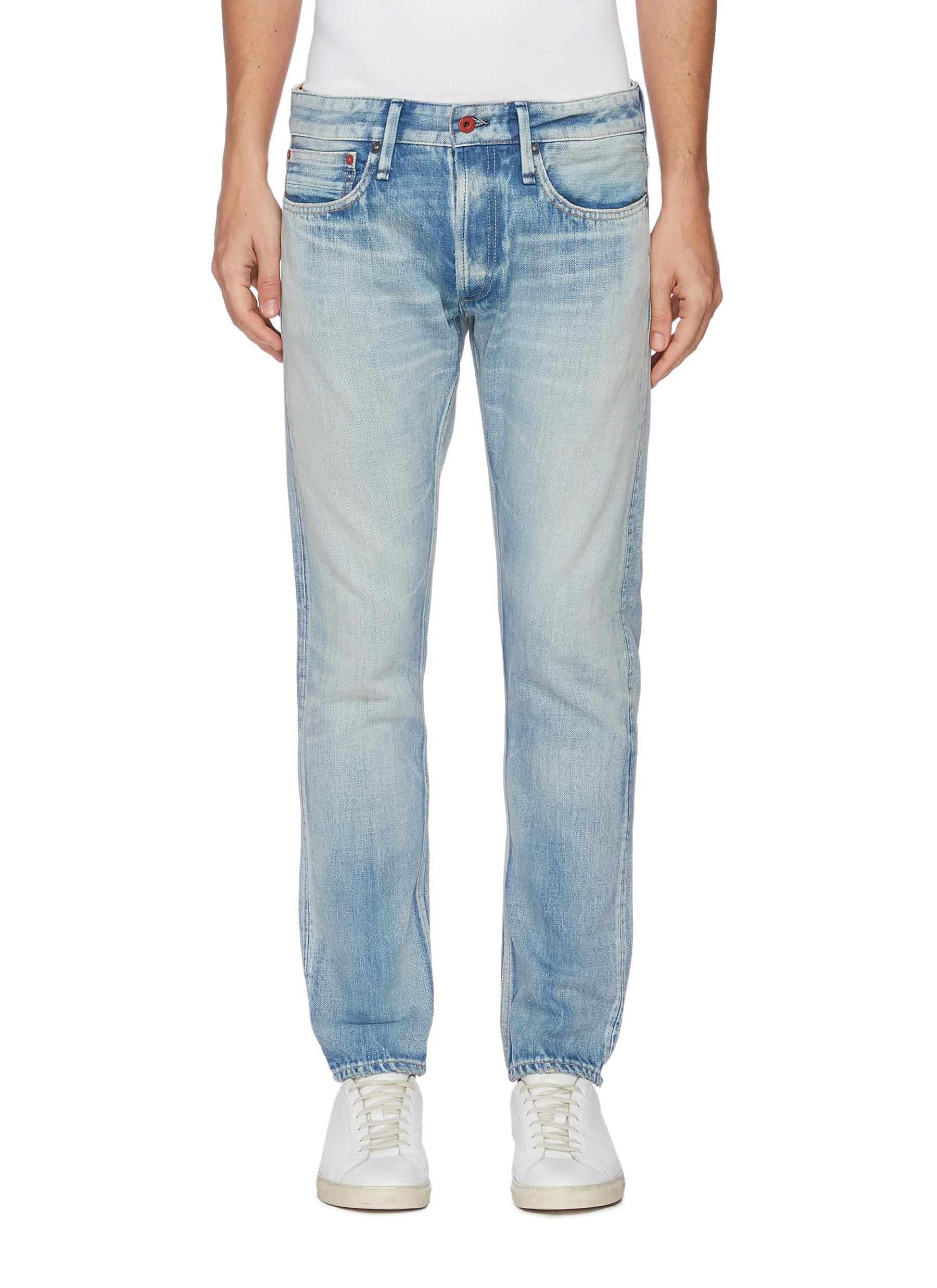 'Razor' medium wash slim jeans