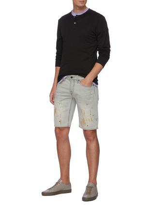 Figure View - Click To Enlarge - DENHAM - 'Razor' paint splatter slim fit denim shorts