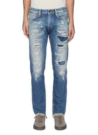 Main View - Click To Enlarge - DENHAM - 'Razor' 8 years SELVEDGE denim slim distressed jeans