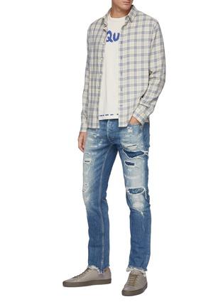 Figure View - Click To Enlarge - DENHAM - 'Razor' 8 years SELVEDGE denim slim distressed jeans