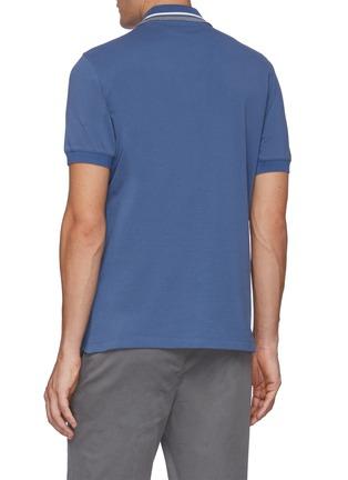 Back View - Click To Enlarge - BRUNELLO CUCINELLI - Cotton stripe collar cotton piquet polo shirt