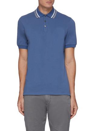 Main View - Click To Enlarge - BRUNELLO CUCINELLI - Cotton stripe collar cotton piquet polo shirt