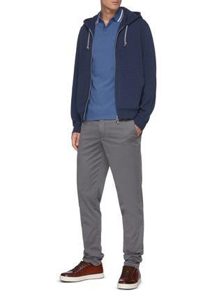 Figure View - Click To Enlarge - BRUNELLO CUCINELLI - Cotton stripe collar cotton piquet polo shirt
