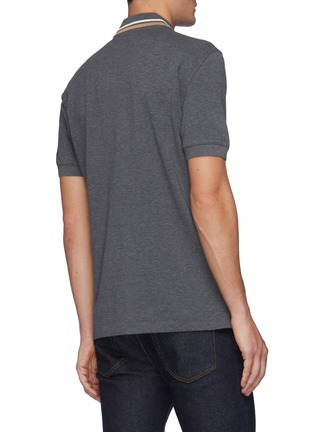 Back View - Click To Enlarge - BRUNELLO CUCINELLI - Tipped Collar Cotton Polo Shirt