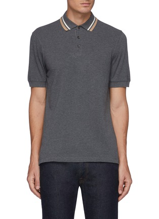 Main View - Click To Enlarge - BRUNELLO CUCINELLI - Tipped Collar Cotton Polo Shirt