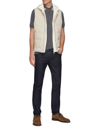 Figure View - Click To Enlarge - BRUNELLO CUCINELLI - Tipped Collar Cotton Polo Shirt