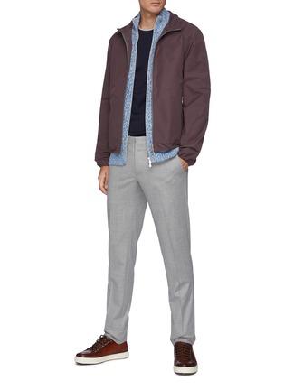 Figure View - Click To Enlarge - BRUNELLO CUCINELLI - Slim Fit Crewneck Contrasting Trim Cotton T-Shirt