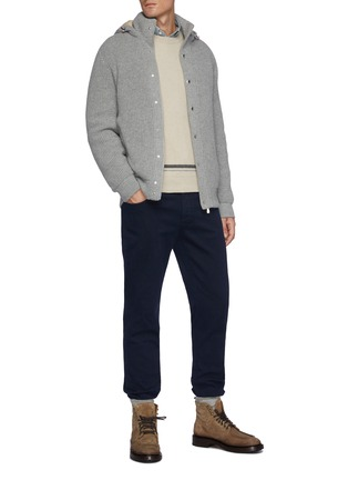 Figure View - Click To Enlarge - BRUNELLO CUCINELLI - Tipped Crewneck Cashmere Sweater