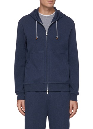 Main View - Click To Enlarge - BRUNELLO CUCINELLI - Cotton-nylon blend drawstring hoodie
