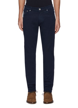 Main View - Click To Enlarge - BRUNELLO CUCINELLI - Leather patch jeans