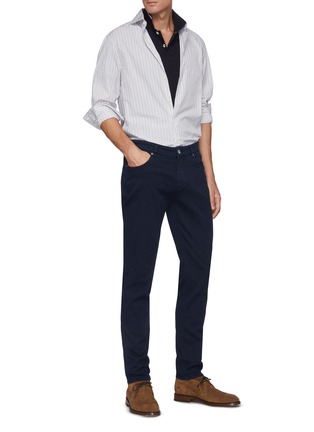 Figure View - Click To Enlarge - BRUNELLO CUCINELLI - Leather patch jeans