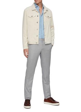 Figure View - Click To Enlarge - BRUNELLO CUCINELLI - Spread Collar Light Wash Denim Shirt