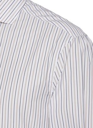 - BRUNELLO CUCINELLI - Striped spread collar slim fit cotton shirt