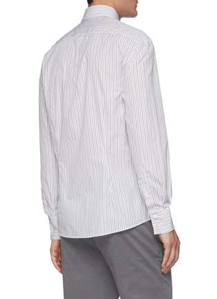 Back View - Click To Enlarge - BRUNELLO CUCINELLI - Striped spread collar slim fit cotton shirt