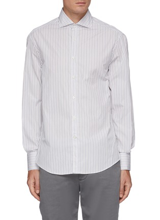 Main View - Click To Enlarge - BRUNELLO CUCINELLI - Striped spread collar slim fit cotton shirt
